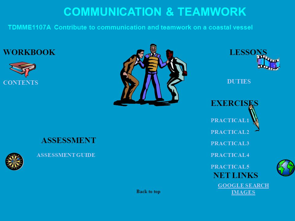 PROVIDE FIRST AID ASSESSMENT GUIDE US NAVY FIRST AID COURSE CSL ANTI-VENOM HANDBOOK PARASOL FIRST AID ON LINE ST JOHNS PUBLICATIONS SEE NET LINKS WORKBOOK ASSESSMENT TDMMF1007B Provide elementary first aid LESSONS Back to top NET LINKS SCENARIOS EXERCISES Note: At December 2007 this unit was not Workcover approved.