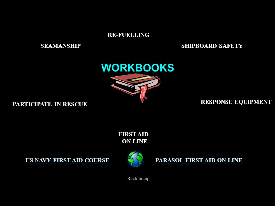 WORKBOOKS CERT 1,2&3 SEAMANSHIPSHIPBOARD SAFETY FIRST AID ON LINE PARASOL FIRST AID ON LINEUS NAVY FIRST AID COURSE Back to top RESPONSE EQUIPMENT PARTICIPATE IN RESCUE RE-FUELLING