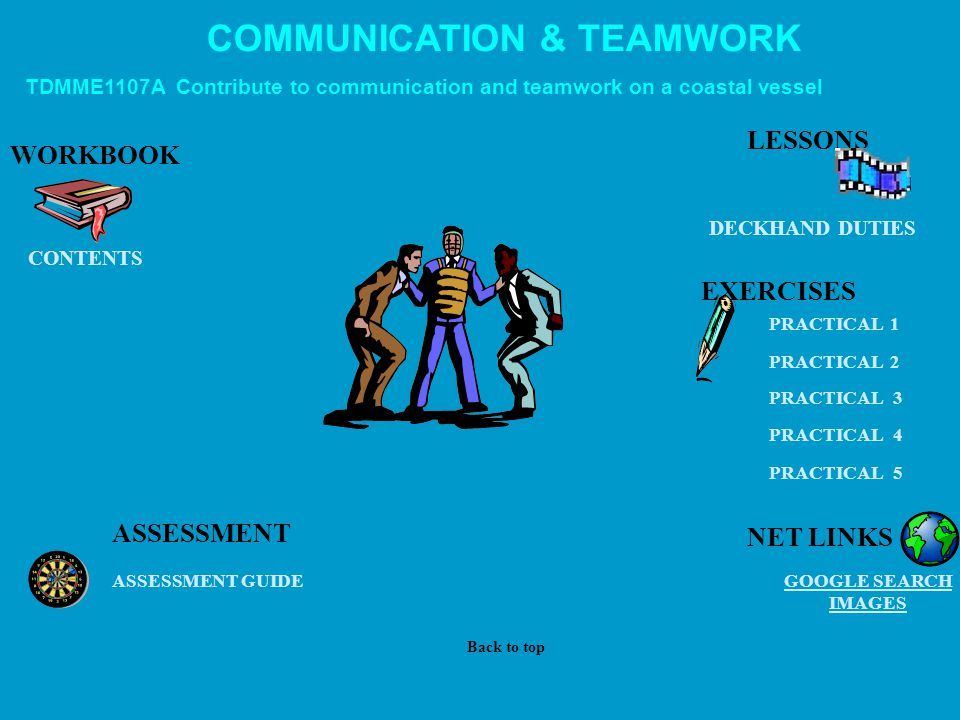 COMMUNICATION & TEAMWORK TDMME1107A Contribute to communication and teamwork on a coastal vessel WORKBOOK DECKHAND DUTIES EXERCISES GOOGLE SEARCH IMAGES ASSESSMENT ASSESSMENT GUIDE PRACTICAL 1 PRACTICAL 2 PRACTICAL 3 PRACTICAL 4 PRACTICAL 5 CONTENTS LESSONS Back to top NET LINKS