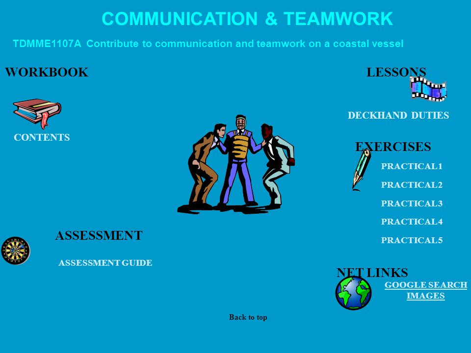 COMMUNICATION & TEAMWORK TDMME1107A Contribute to communication and teamwork on a coastal vessel WORKBOOK DECKHAND DUTIES EXERCISES NET LINKS GOOGLE SEARCH IMAGES ASSESSMENT ASSESSMENT GUIDE PRACTICAL 1 PRACTICAL 2 PRACTICAL 3 PRACTICAL 4 PRACTICAL 5 CONTENTS LESSONS Back to top