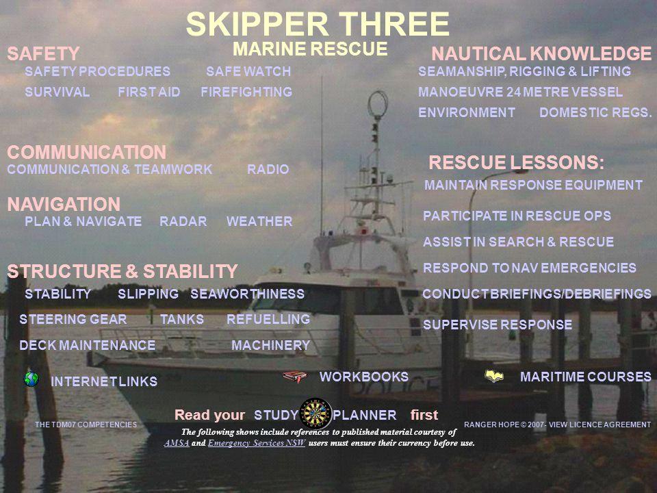 MARINE RESCUE MARITIME COURSESWORKBOOKS INTERNET LINKS SAFETY COMMUNICATION & TEAMWORK SEAWORTHINESS DOMESTIC REGS.