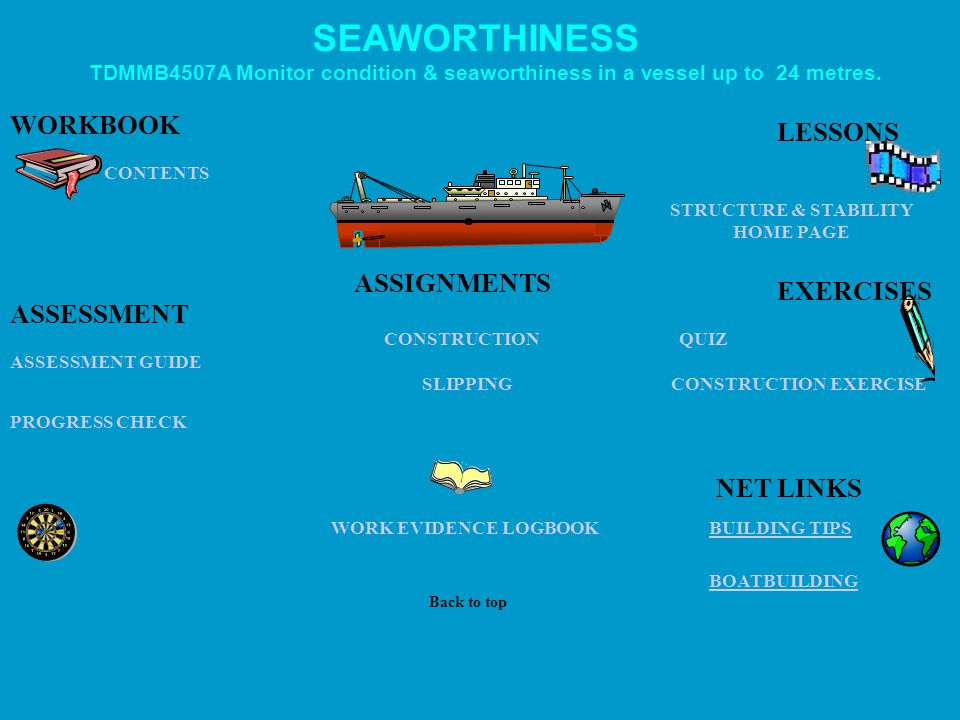 CONTENTS NET LINKS PROGRESS CHECK ASSESSMENT GUIDE SEAWORTHINESS QUIZ CONSTRUCTION EXERCISE ASSIGNMENTS CONSTRUCTION SLIPPING BUILDING TIPS BOATBUILDING WORKBOOK ASSESSMENT WORK EVIDENCE LOGBOOK LESSONS EXERCISES Back to top TDMMB4507A Monitor condition & seaworthiness in a vessel up to 24 metres.