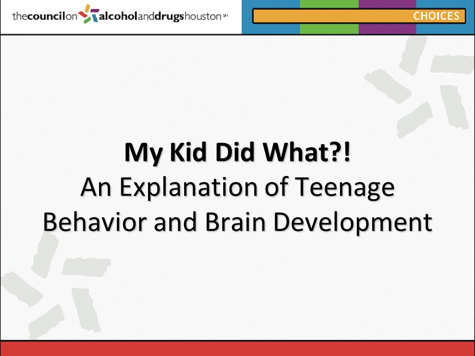 My Kid Did What ! An Explanation of Teenage Behavior and Brain Development