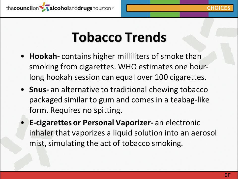Tobacco Trends Hookah- contains higher milliliters of smoke than smoking from cigarettes. WHO estimates one hour- long hookah session can equal over 1