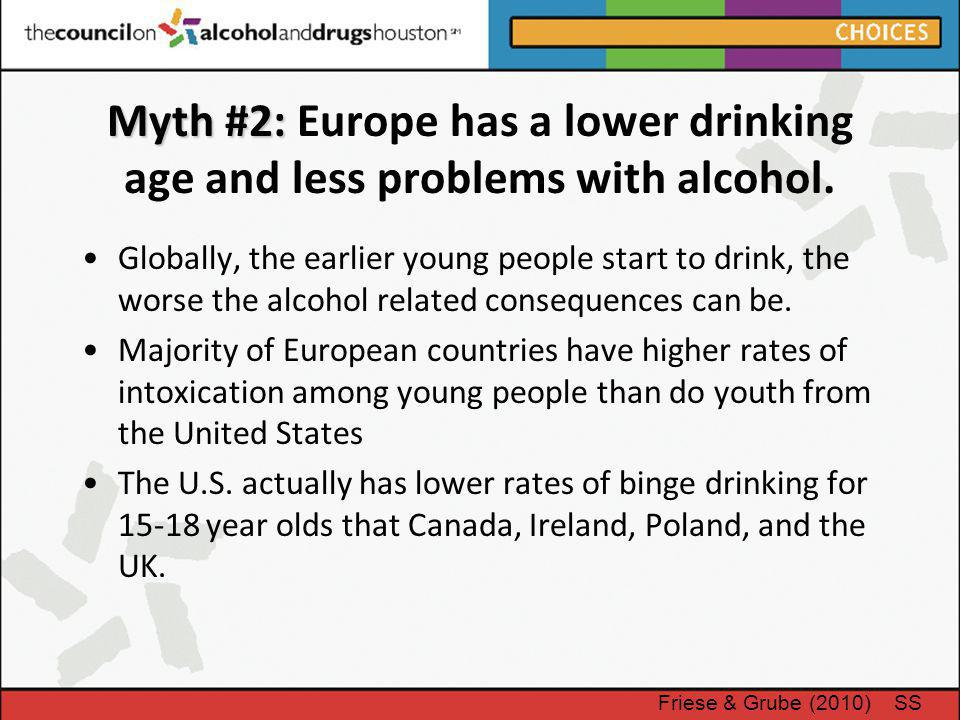 Myth #2: Myth #2: Europe has a lower drinking age and less problems with alcohol. Globally, the earlier young people start to drink, the worse the alc