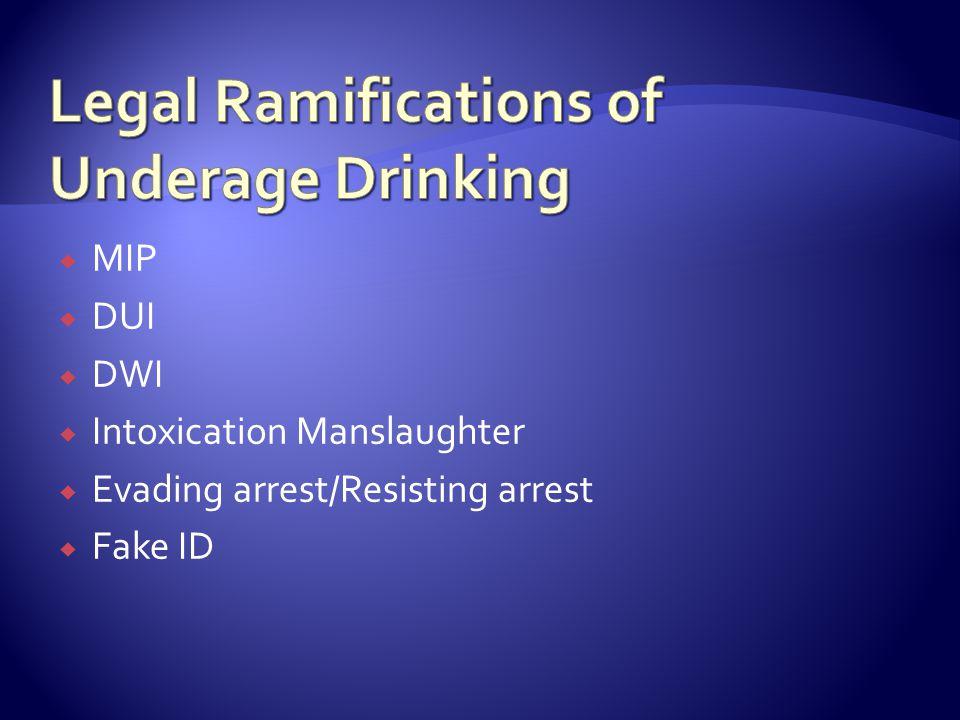  MIP  DUI  DWI  Intoxication Manslaughter  Evading arrest/Resisting arrest  Fake ID