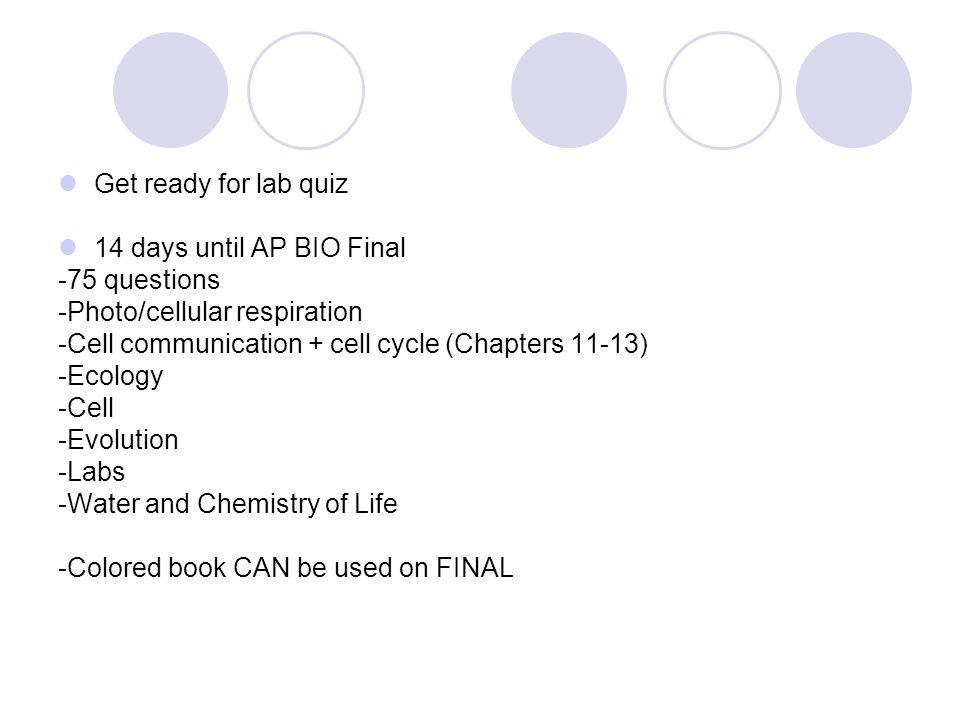Monday, May 14 th at 8am AP Biology Exam