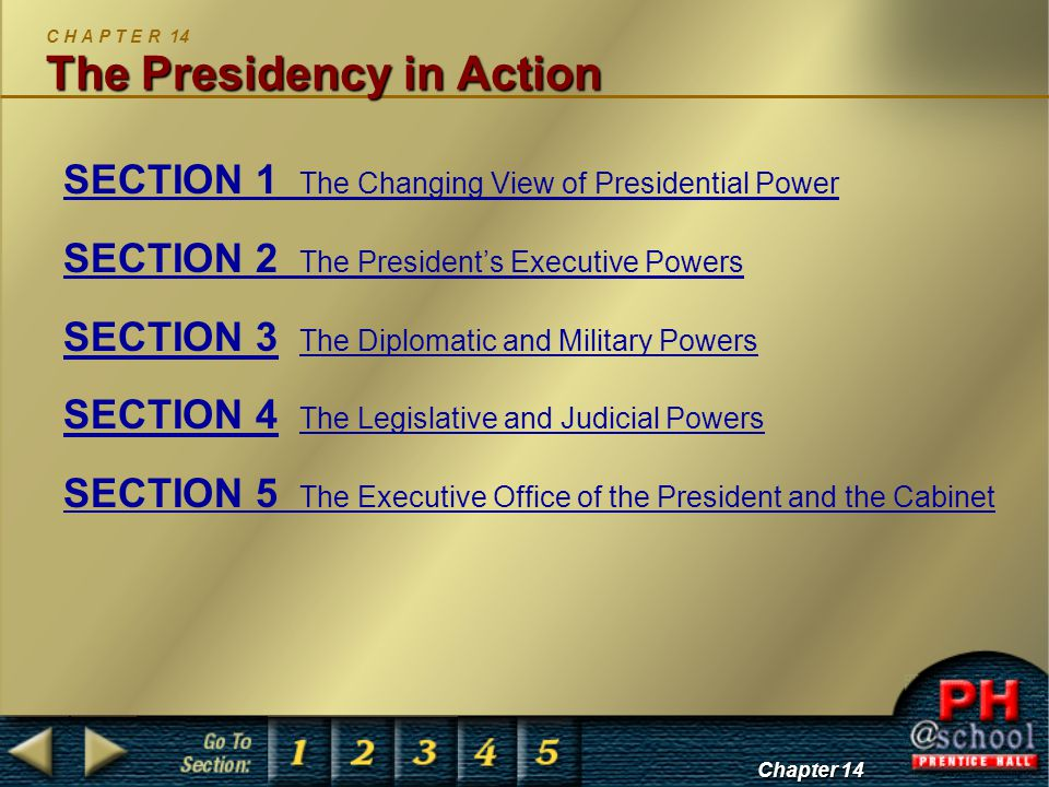 Chapter 14, Section 1 The Changing View of Presidential Power S E C T I O N 1 The Changing View of Presidential Power The powers of the President have grown since 1787.