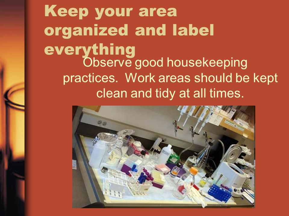 Keep your area organized and label everything Observe good housekeeping practices. Work areas should be kept clean and tidy at all times.