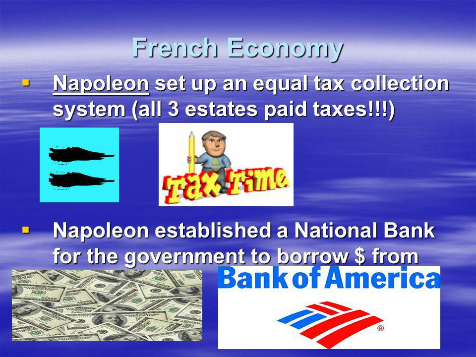French Economy  Napoleon set up an equal tax collection system (all 3 estates paid taxes!!!)  Napoleon established a National Bank for the governmen