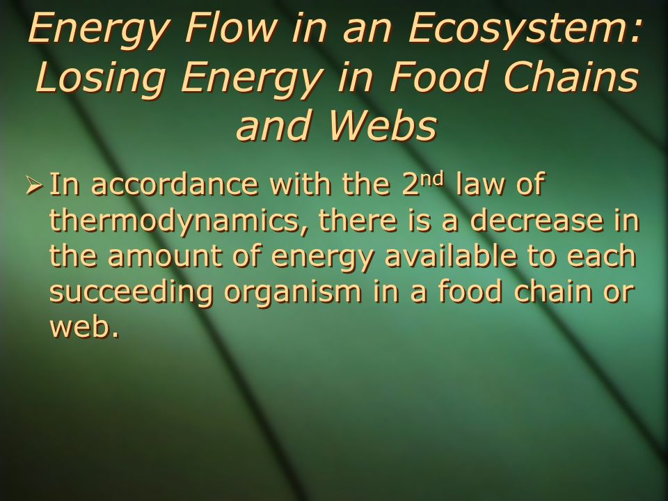 Energy Flow in an Ecosystem: Losing Energy in Food Chains and Webs  In accordance with the 2 nd law of thermodynamics, there is a decrease in the amount of energy available to each succeeding organism in a food chain or web.