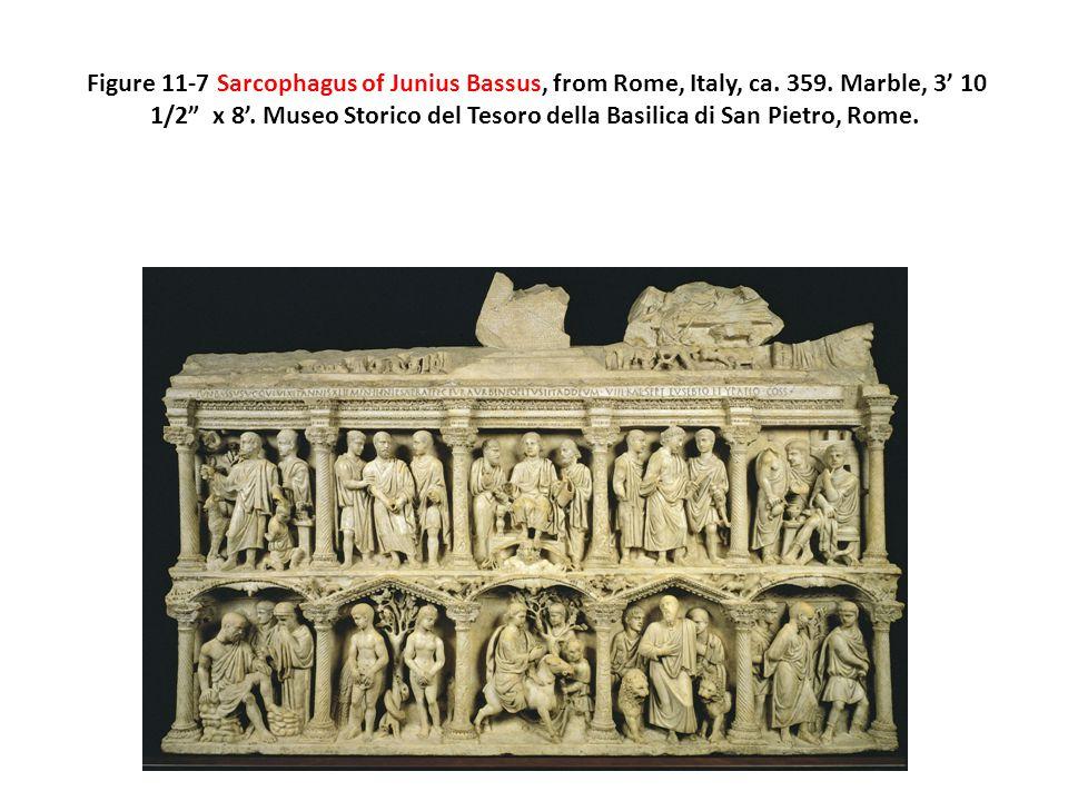 """Figure 11-7 Sarcophagus of Junius Bassus, from Rome, Italy, ca. 359. Marble, 3' 10 1/2"""" x 8'. Museo Storico del Tesoro della Basilica di San Pietro, R"""