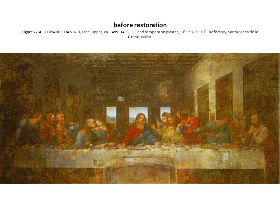 "before restoration Figure 22-4 LEONARDO DA VINCI, Last Supper, ca. 1495–1498. Oil and tempera on plaster, 13' 9"" x 29' 10"". Refectory, Santa Maria del"