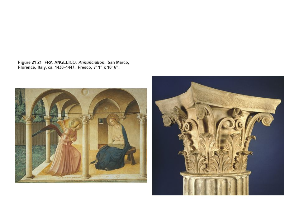Figure 21-21 FRA ANGELICO, Annunciation, San Marco, Florence, Italy, ca.