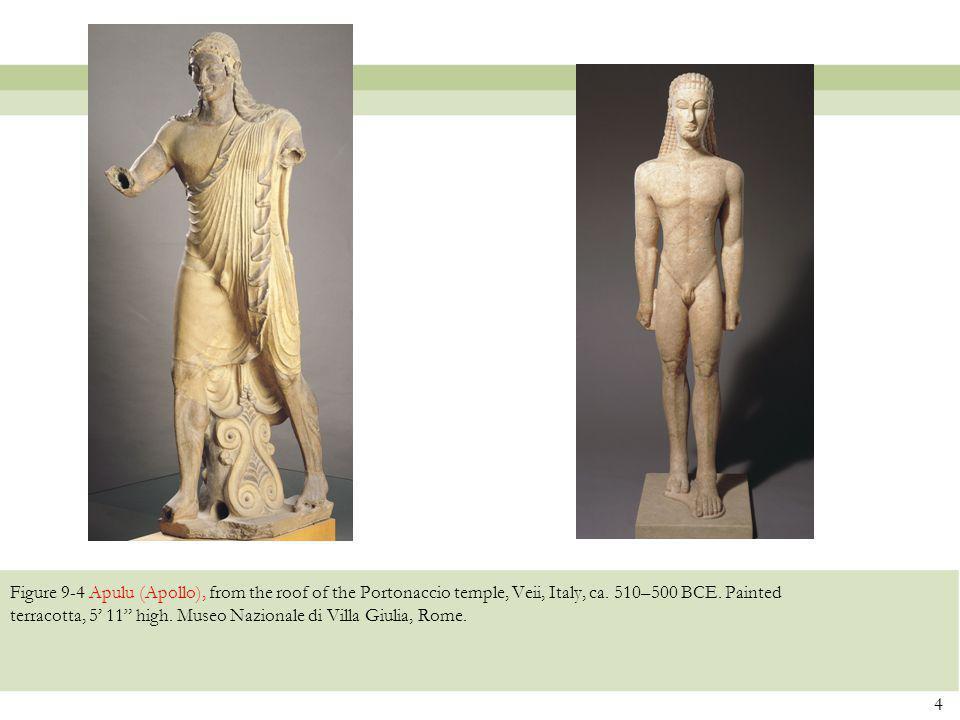 "Figure 9-4 Apulu (Apollo), from the roof of the Portonaccio temple, Veii, Italy, ca. 510–500 BCE. Painted terracotta, 5' 11"" high. Museo Nazionale di"
