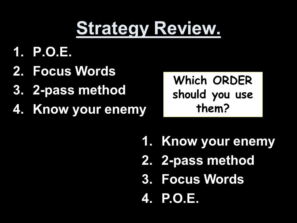 Strategy Review. 1.P.O.E.