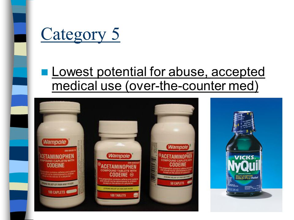 Category 5 Lowest potential for abuse, accepted medical use (over-the-counter med)