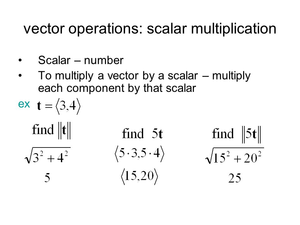 vector operations: scalar multiplication Scalar – number To multiply a vector by a scalar – multiply each component by that scalar ex