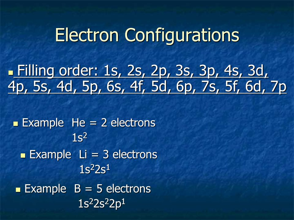 Electron Configuration Sublevel # of Orbitals Available # of Electrons Available s12 p36 d510 f714