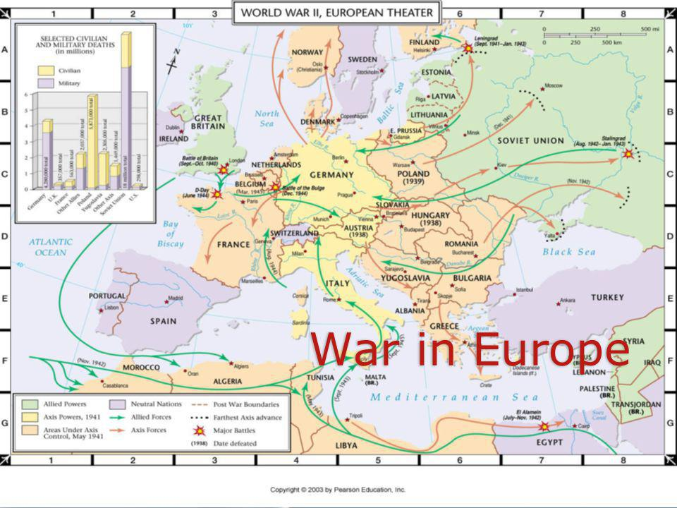 War England & France declare war No real fighting for months April 1940: Hitler invades Denmark/Norway/Belgium/Holland England & France declare war No real fighting for months April 1940: Hitler invades Denmark/Norway/Belgium/Holland