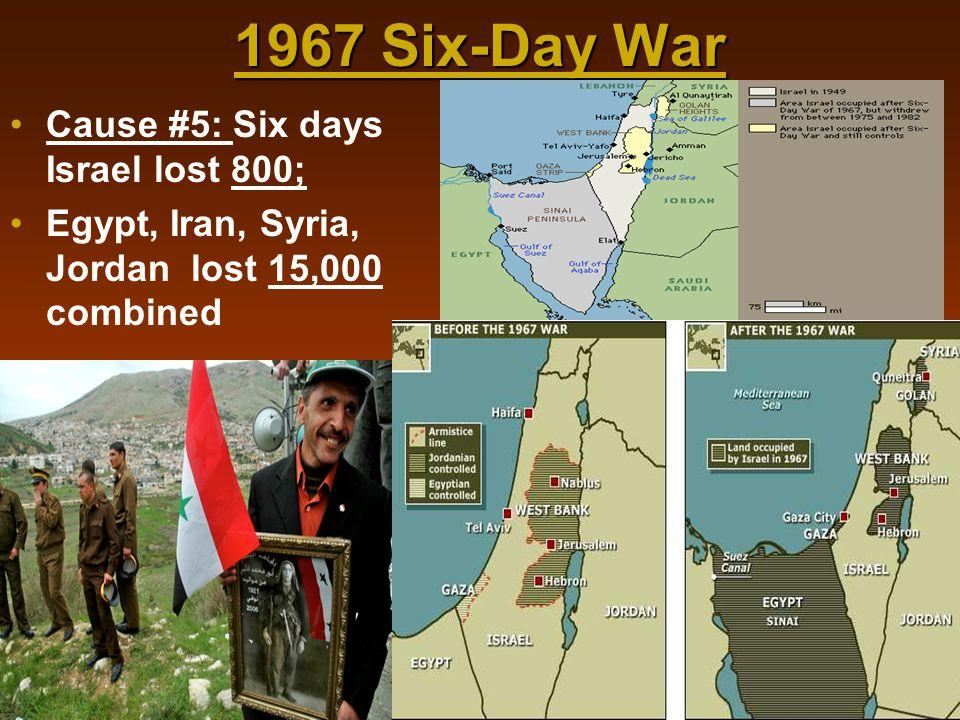 1967 Six-Day War Cause #5: Six days Israel lost 800; Egypt, Iran, Syria, Jordan lost 15,000 combined