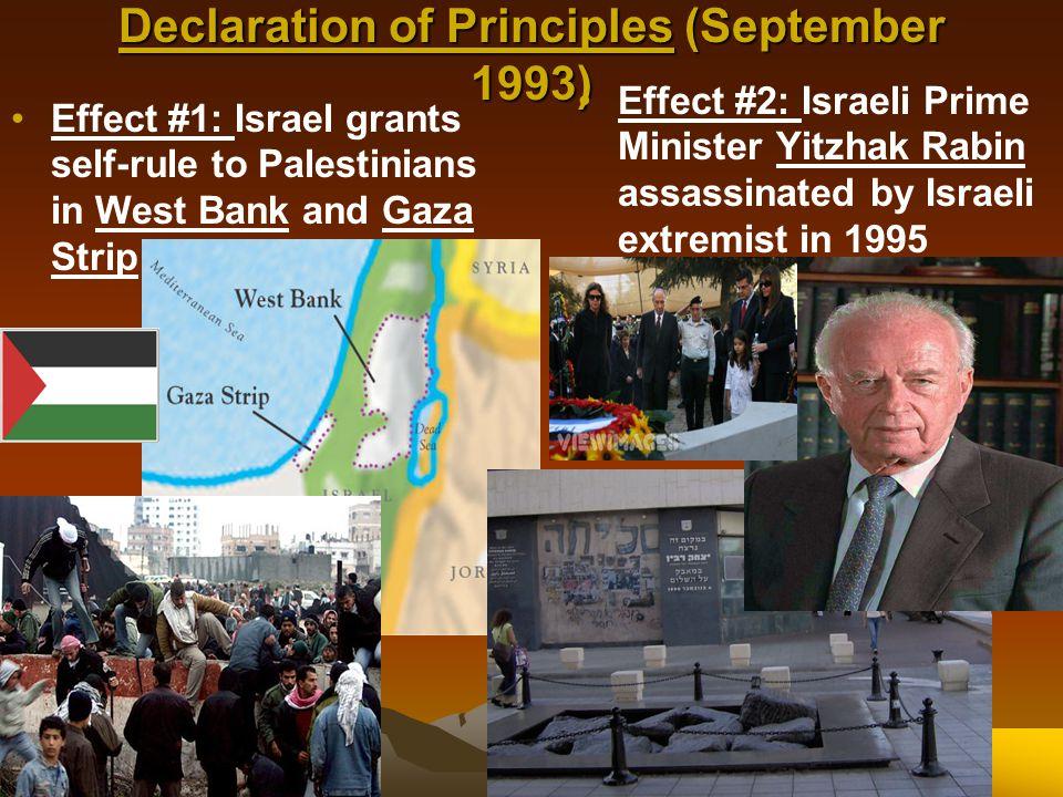 Declaration of Principles (September 1993) Effect #1: Israel grants self-rule to Palestinians in West Bank and Gaza Strip Effect #2: Israeli Prime Min