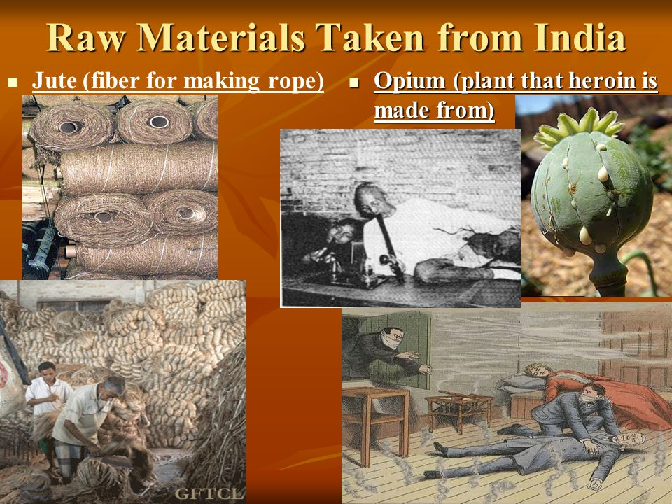 Raw Materials Taken from India Jute (fiber for making rope) Opium (plant that heroin is made from) Opium (plant that heroin is made from)