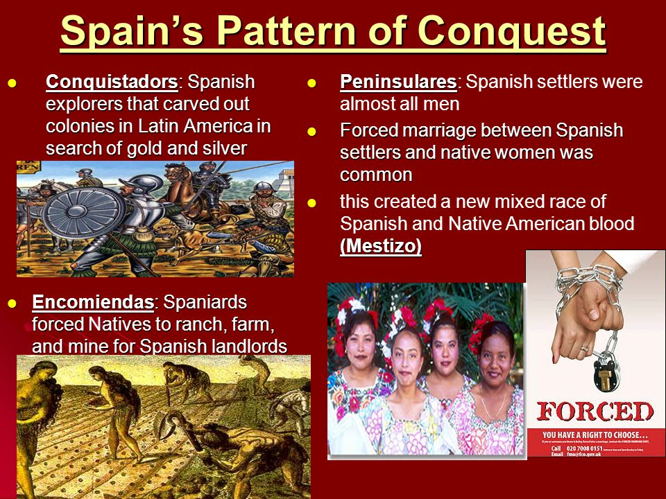 Spain's Pattern of Conquest Conquistadors: Spanish explorers that carved out colonies in Latin America in search of gold and silver Conquistadors: Spa
