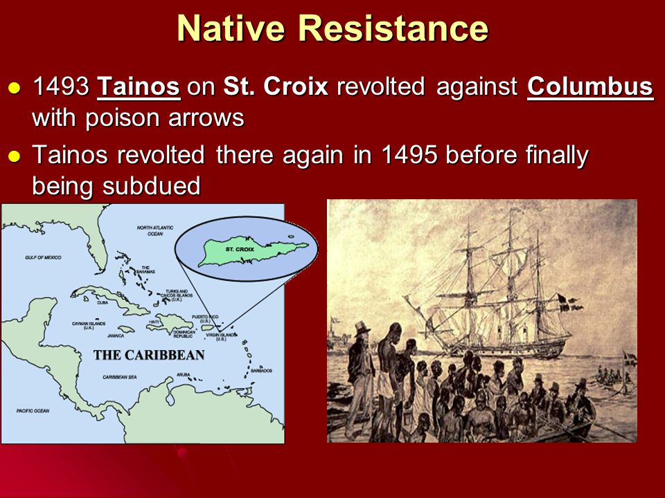 Native Resistance 1493 Tainos on St. Croix revolted against Columbus with poison arrows 1493 Tainos on St. Croix revolted against Columbus with poison