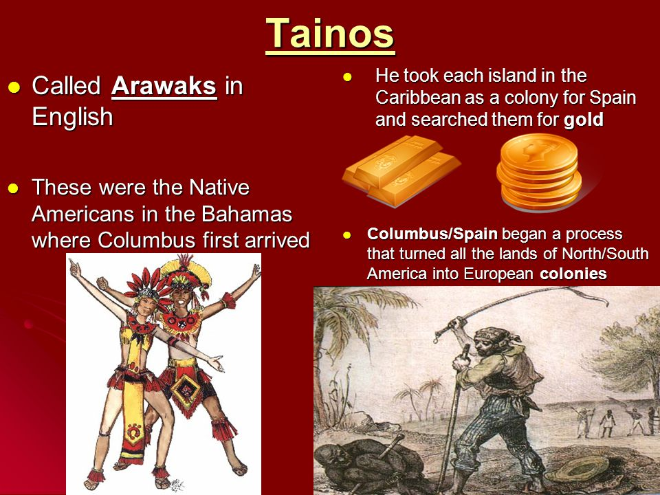 Tainos Called Arawaks in English Called Arawaks in English These were the Native Americans in the Bahamas where Columbus first arrived These were the