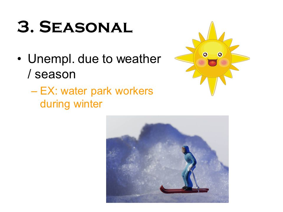 3. Seasonal Unempl. due to weather / season –EX: water park workers during winter