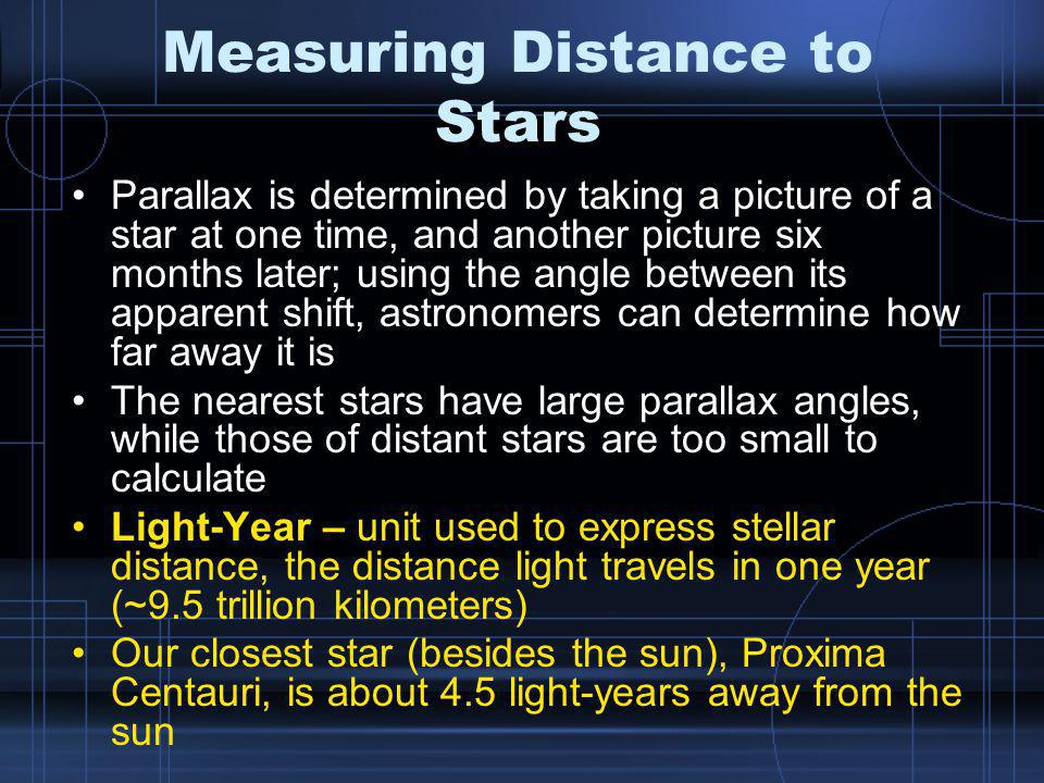 Measuring Distance to Stars Parallax is determined by taking a picture of a star at one time, and another picture six months later; using the angle between its apparent shift, astronomers can determine how far away it is The nearest stars have large parallax angles, while those of distant stars are too small to calculate Light-Year – unit used to express stellar distance, the distance light travels in one year (~9.5 trillion kilometers) Our closest star (besides the sun), Proxima Centauri, is about 4.5 light-years away from the sun