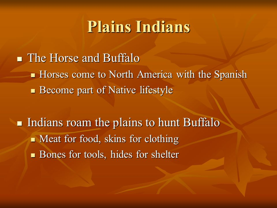 Plains Indians The Horse and Buffalo The Horse and Buffalo Horses come to North America with the Spanish Horses come to North America with the Spanish Become part of Native lifestyle Become part of Native lifestyle Indians roam the plains to hunt Buffalo Indians roam the plains to hunt Buffalo Meat for food, skins for clothing Meat for food, skins for clothing Bones for tools, hides for shelter Bones for tools, hides for shelter