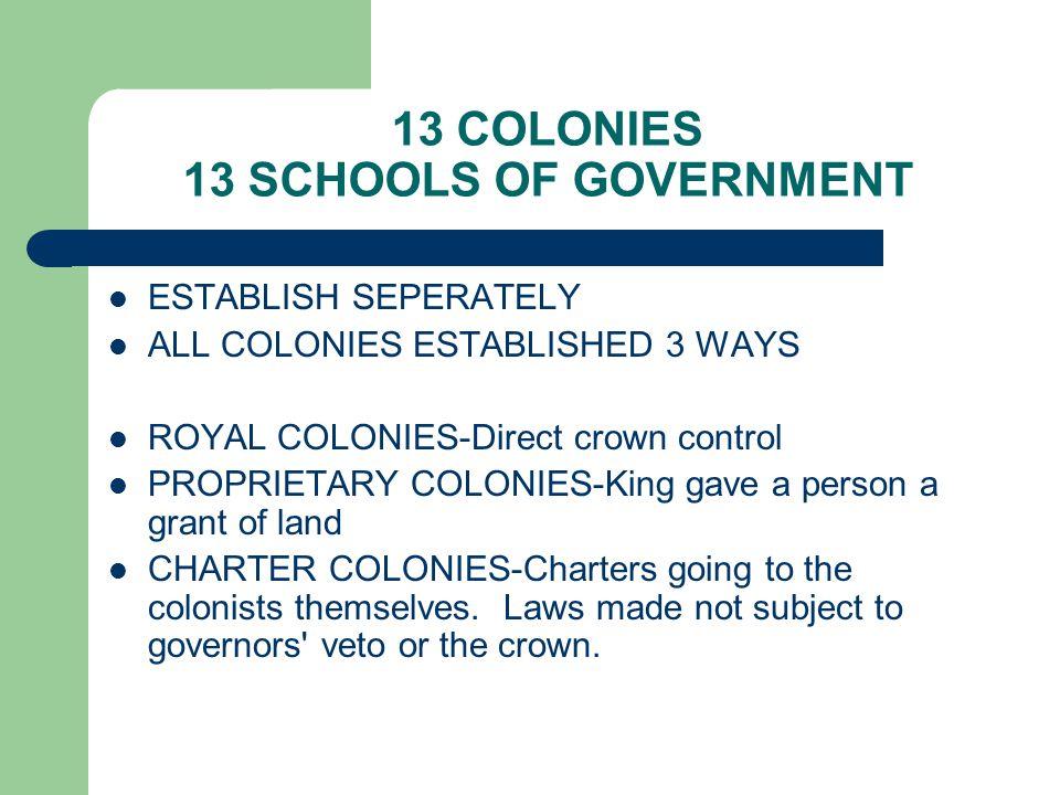 13 COLONIES 13 SCHOOLS OF GOVERNMENT ESTABLISH SEPERATELY ALL COLONIES ESTABLISHED 3 WAYS ROYAL COLONIES-Direct crown control PROPRIETARY COLONIES-Kin