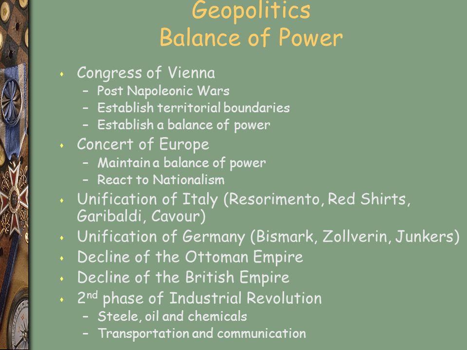 Geopolitics Balance of Power s Congress of Vienna –Post Napoleonic Wars –Establish territorial boundaries –Establish a balance of power s Concert of E