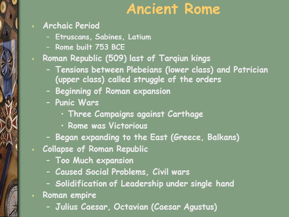 Ancient Rome s Archaic Period –Etruscans, Sabines, Latium –Rome built 753 BCE s Roman Republic (509) last of Tarqiun kings –Tensions between Plebeians