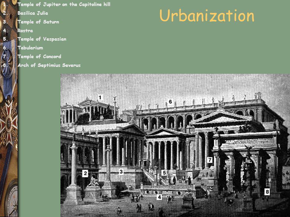 Urbanization 1.Temple of Jupiter on the Capitoline hill 2.Basilica Julia 3.Temple of Saturn 4.Rostra 5.Temple of Vespasian 6.Tabularium 7.Temple of Co