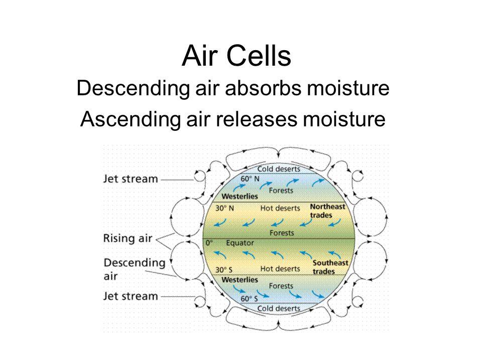 Air Cells Descending air absorbs moisture Ascending air releases moisture
