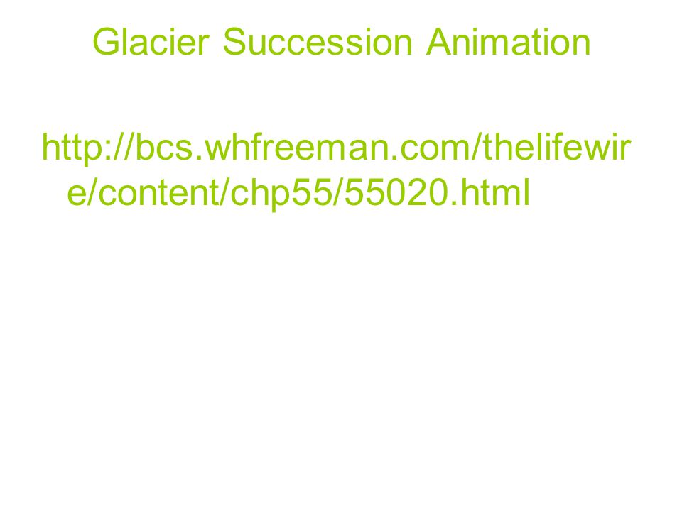 Glacier Succession Animation http://bcs.whfreeman.com/thelifewir e/content/chp55/55020.html