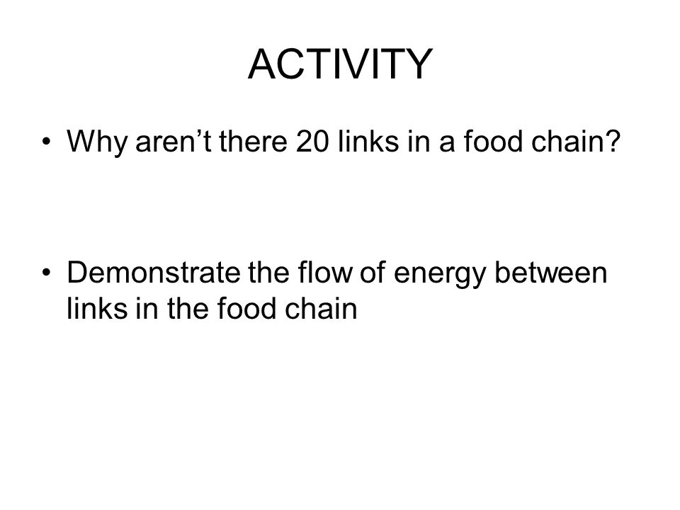 ACTIVITY Why aren't there 20 links in a food chain.