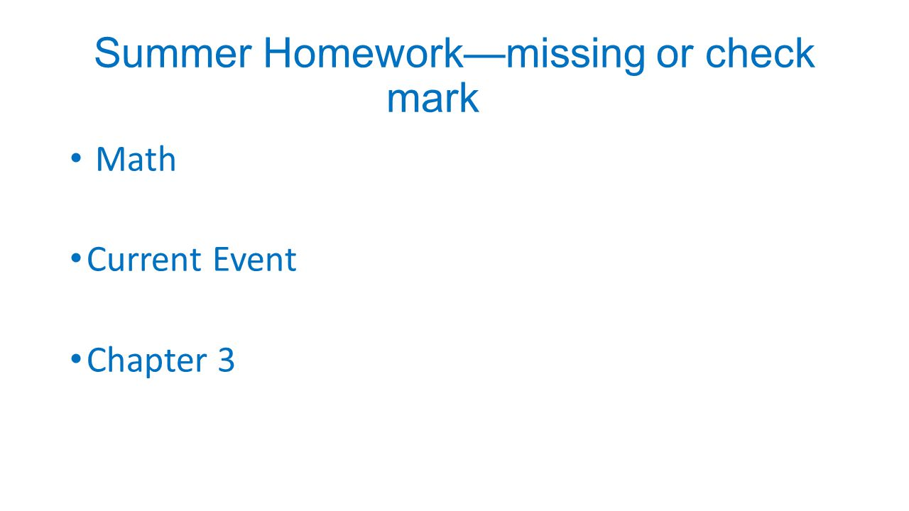 Summer Homework—missing or check mark Math Current Event Chapter 3