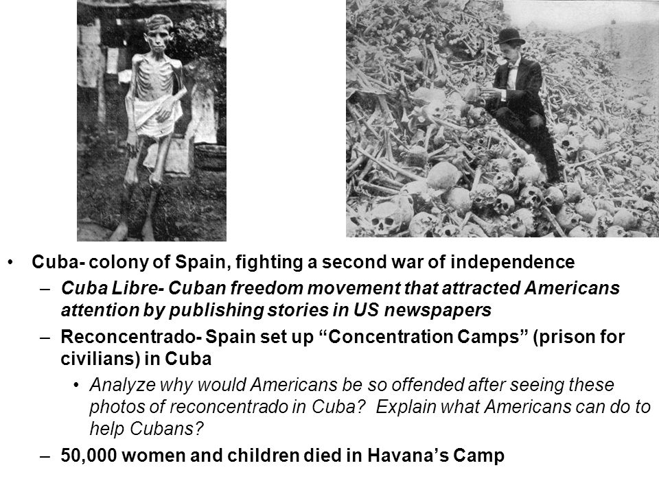 America's Response- Americans wanted to go to war with Spain and free Cuba (Why?) –Proximity- Cuba is close to US –Oppression- of Cubans upset America's idea of freedom –Yellow Journalism- stories that exaggerated news to gain more readers How does the painting of the USS Maine explosion painting demonstrate Yellow Journalism .