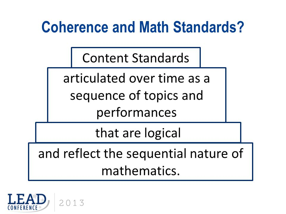 Coherence and Math Standards.
