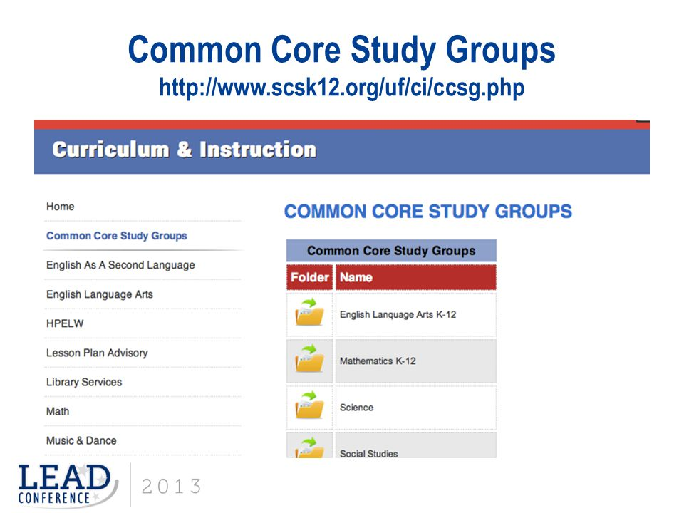 Common Core Study Groups http://www.scsk12.org/uf/ci/ccsg.php