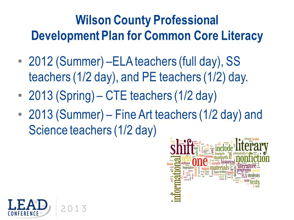Wilson County Professional Development Plan for Common Core Literacy 2012 (Summer) –ELA teachers (full day), SS teachers (1/2 day), and PE teachers (1/2) day.