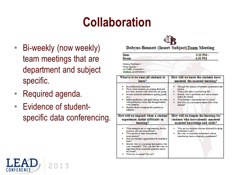 Collaboration Bi-weekly (now weekly) team meetings that are department and subject specific.