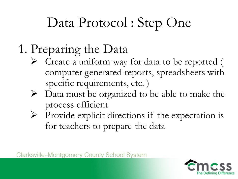 Data Protocol : Step One 1.