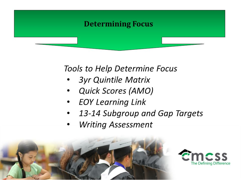 Determining Focus Tools to Help Determine Focus 3yr Quintile Matrix Quick Scores (AMO) EOY Learning Link 13-14 Subgroup and Gap Targets Writing Assessment
