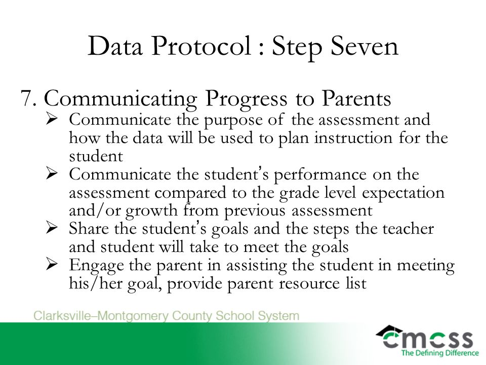 Data Protocol : Step Seven 7.