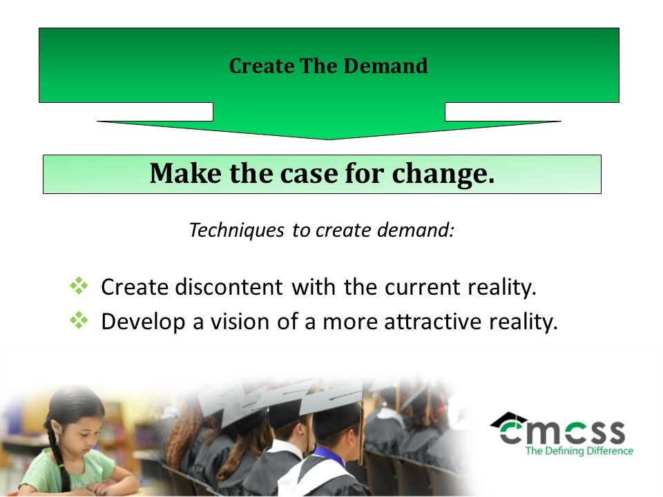 Create The Demand Make the case for change.